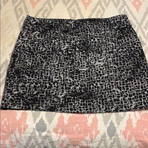 Black gray white printed skirt